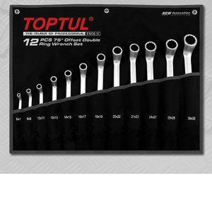 TOPTUL 12-delige set met dubbele ringsleutel, 75-delig