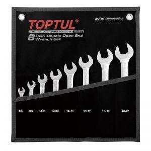 TOPTUL - 8 STUKS DUBBELE EINDE SLEUTELSET (ZAKJE - ZWART)