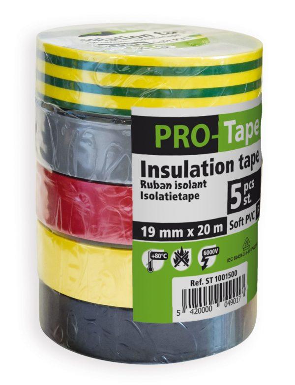5 stuks isolatietape 19 mm x 20 m, 5 kleuren
