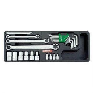 23PCS - Set stersleutels, doppen en sleutelsleutels