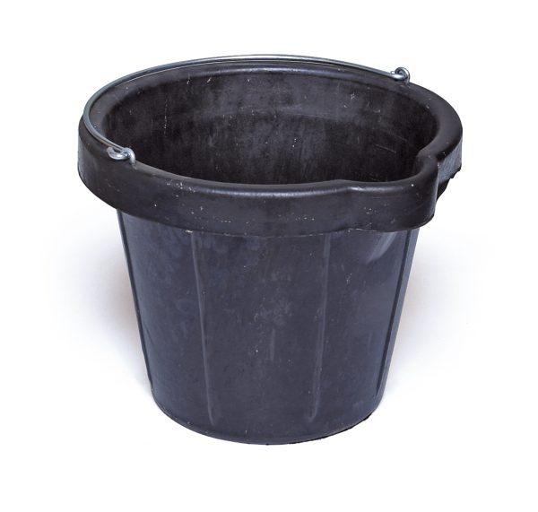 Bouwemmer rubber zwart met gietbek - zware uitvoering 12 L
