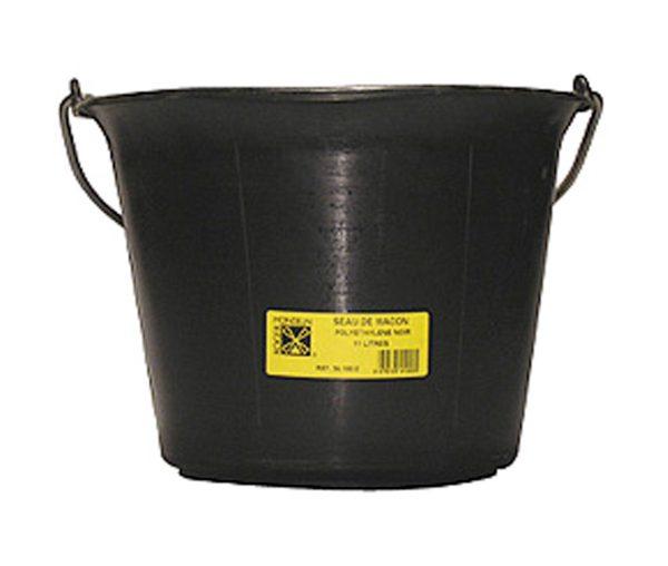 Bouwemmer versterkt - zwart 11 L