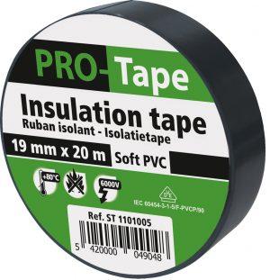 5 stuks isolatietape 19 mm x 20 m, zwart