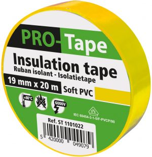 5 stuks isolatietape 19 mm x 20 m, geel